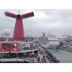 I took this while the Carnival Glory was headed to the Turning Basin in Miami on my last cruise on her, November 2014. Say hi to the Breeze! #carnivalglory #miami #departure #overcast #packed #carnivalbreeze #carnival #mia #cruise #sailaway #travel #wanderlust #vacation