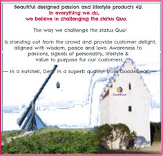 GOOD4GEAR- Challenge The Status Quo, Peace And Love, Personality, Believe, Challenges, Passion, Lifestyle, Faith