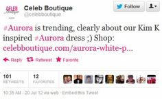 """Also during the Aurora shooting, Celeb Boutique tweeted this because they saw """"Aurora"""" trending. While it was a genuine mistake, it does not take much effort to CHECK why a hashtag is a trending topic."""