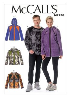 Sewing Pattern for Misses'/Men's Top & Jackets, Easy McCall's Pattern 7298, His n Hers Crew Necks,Hoodies, Zip Up Hoodies, Plus Sizes Avail