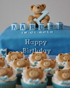 Teddy Bear Cake and Cupcakes! Baby Cake Pops, Baby Boy Cakes, Cakes For Boys, Baby Shower Cakes, Baby Birthday Cakes, First Birthday Parties, Happy Birthday, Teddy Bear Cupcakes, Personalized Cakes