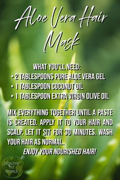 Smoothen and Repair Your Dry and Damaged Hair with This Easy Aloe Vera Hair Mask - Healthy Fit World diy hair mask for dry damaged hair Aloe Vera Hair Mask, Aloe Vera For Hair, Aloe Vera Gel For Hair Growth, Hair Mask For Damaged Hair, Hair Masks, Olive Oil Hair, Oil For Hair Loss, Hair Loss Shampoo, Hair Falling Out
