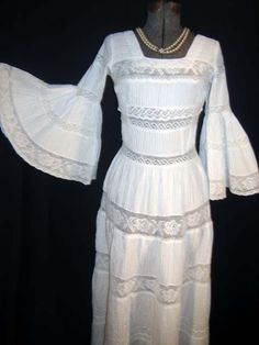 Vintage 70's Mexican Lace Trimmed Dress..  I wore one just like this to my junior high graduation