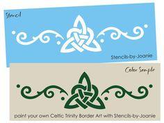 """STENCIL 4"""" tall Celtic Trinity Knot Heart Swirl Border Irish Wall Art…"""