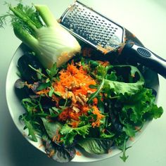 Fennel + carrots + leafy green + walnut salad-porn   andreabalt.com