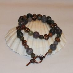 Antiqued Copper Necklace With Indian Agate Beads And Copper Spacers