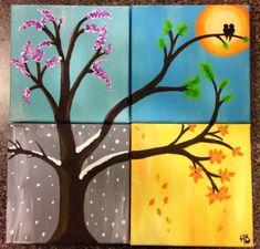 the four seasons, acrylic paints, 4 canvases, made by me:): #canvaspaintingacrylic