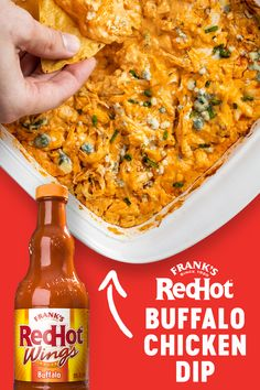 Fire up game day with Frank's RedHot Buffalo Chicken Dip. With shredded chicken, ranch, blue cheese and Frank's RedHot Original Cayenne Pepper Sauce, you can easily whip up the perfect party dip in just 20 minutes · Makes 4 cups Poulet Sauce Buffalo, Buffalo Chicken Dip Oven, Buffalo Chicken Recipes, Franks Red Hot Buffalo Chicken Dip Recipe, Chicken Soups, Easy Chicken Dinner Recipes, Garlic Chicken, Chicken Pasta, Chicken Salad