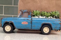 Succulent Garden in a Vintage Metal Pickup Truck by EdenCondensed, on Etsy