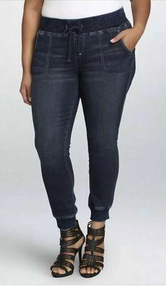 e3639b2d69840 Torrid French Terry Denim Jogger Pants Stretch Dark Wash Womens Size 14   fashion  clothing