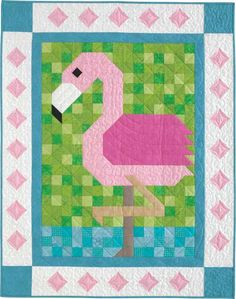 Paradise Patch Quilt Kit: A poised flamingo is the star of this adorable baby quilt from the Quiltmaker Patch Pals Collection.