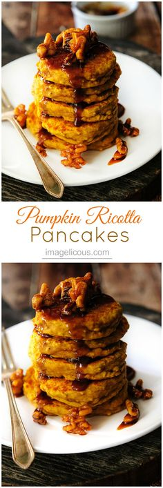 Pumpkin Ricotta Pancakes - healthy, delicious pancakes perfect for Christmas morning