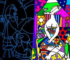 ART GALLERY FÁBIO BALEN.....  OBRA: PAINTER AND MODEL OF PICASSO  ACRYLIC ON CANVAS