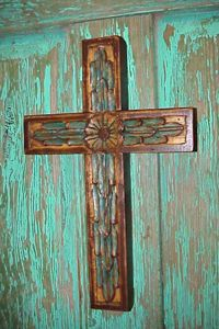 Taos Handcrafted Carved Wood Cross - Hand carved with a flower center, this recycled pine wood cross is wonderful cross. Wooden Crosses, Crosses Decor, Wall Crosses, Old Rugged Cross, Sign Of The Cross, Cross Art, Hand Carved, Carved Wood, Hand Painted