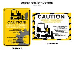 Construction theme birthday printables