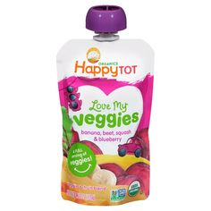 Happy Tot Love My Veggies Banana Beet Squash & Blueberry - Organic Blueberries, Organic Fruit, Creamy Cheese, Toddler Meals, Saturated Fat, Beets, Baby Food Recipes, Squash, Blueberry