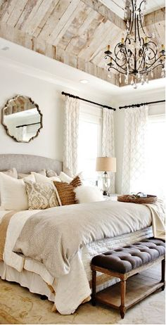 Rustic Master Bedroom Design, Modern Farmhouse Bedroom, Home Decor Bedroom, Modern Bedroom, Rustic Farmhouse, Bedroom Designs, Cozy Bedroom, French Farmhouse, Bedroom Rustic