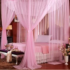 four corner Romantic Lace canopy Mosquito net bed moustiquaire king size curtains red Pink puple Palace rede mosquito net. Category: Home & Garden. Subcategory: Home Textile. Pink Bedroom Decor, Girls Bedroom, Bedroom Ideas, Master Bedroom, Sofa Bed Living Room, Purple Furniture, Style Floral, Cool Couches, Quilt Set