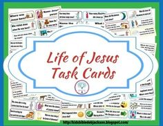 These Life of Jesus Task Cards Freebie are not numbered and can be used to put the Life of Jesus in order. Or,  you can find several different ideas on ways to use these on my blog.