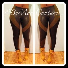 Couture Army Leggings! Very Good Quality! Faux Leather & Spandex Panels! Avail in S/M/L! Bemorecouture.com