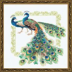 Peacocks counted cross stitch