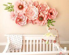 Paper Flower Backdrop, Nursery Decorations, Giant Paper Flowers, Paper Flowers for Nursery