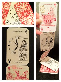 A pack of cards for a Invitation for a Mad Hatters tea party Alice Tea Party, Alice In Wonderland Tea Party, Mad Hatter Party, Mad Hatter Tea, Mad Hatters, Tea Party Invitations, Invitation Ideas, Invites, Wedding Invitation