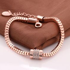 Buy Bracelets Alloy Crystal Geometry Women Trendy Rose Gold Plated Chain 8inches with wholesale free shipping & drop shipping.