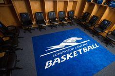 Longwood University Men's Basketball Locker Room, Custom Logo Rug.  Photo Courtesy of Longwood Uiversity
