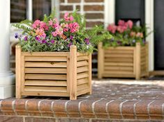 Louvered Wooden Planter