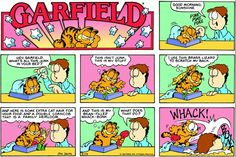 Garfield's bean-filled whack-bonk, thanks to Tim reminding me of it! Garfield Comics, Garfield Cat, Funny Cats, Funny Jokes, Hilarious, Scratch My Back, Hagar The Horrible, Dynamic Action, Comic Art