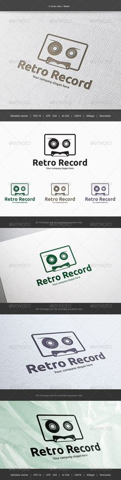 Cassette Sound Record  - Logo Design Template Vector #logotype Download it here: http://graphicriver.net/item/cassette-sound-record-logo/5900247?s_rank=381?ref=nesto
