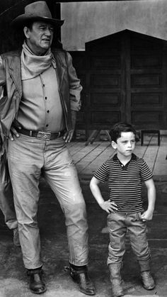 """John Wayne with his son during the filming of """"The War Wagon"""", on location in Mexico, 1967. pic.twitter.com/2h3Q4wPD9z"""