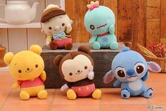 Disney plushes: Winnie the Pooh, Stitch, Mickey Mouse, etc.