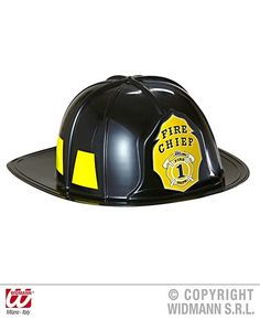 Adult Fancy Party Accessory Fireman Chief Yellow Felt Helmet With Badge UK