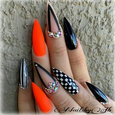There are three kinds of fake nails which all come from the family of plastics. Acrylic nails are a liquid and powder mix. They are mixed in front of you and then they are brushed onto your nails and shaped. These nails are air dried. Dope Nails, Bling Nails, Fun Nails, Glitter Nails, Pointy Nails, Stiletto Nail Art, Coffin Nails, Neon Orange Nails, White Nails