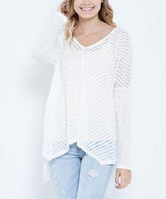 Look at this #zulilyfind! Off-White Chevron Asymmetrical Tunic by Elegant Apparel #zulilyfinds