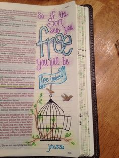 Bible journaling john if the son sets you free you will Bible Study Journal, Scripture Study, Bible Art, Art Journaling, Scripture Journal, Bible Drawing, Bible Doodling, Bible Prayers, Bible Scriptures