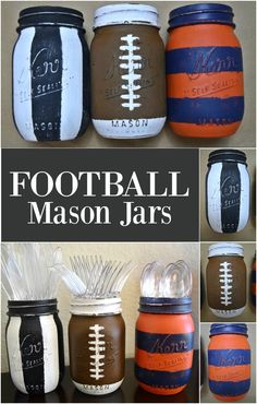 Are you ready for some football?  Show your team spirit by making these football mason jars in your favorite team's colors.  These will look great out on your table for your football parties.