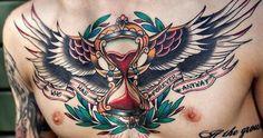 Winged glass hour tattoo #TattooModels #tattoo