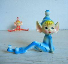 Beyond cute + vintage blue pixie elf figurine.