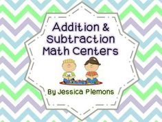 "Math Centers for Addition and Subtraction  Each of the 11 centers includes an ""I Can"" sheet with picture cues to help students remember what to do. All of the centers are also easily differentiated for the different levels of students in your class. You can use different dice/dominoes/chips, or different sets of the cards that are included."