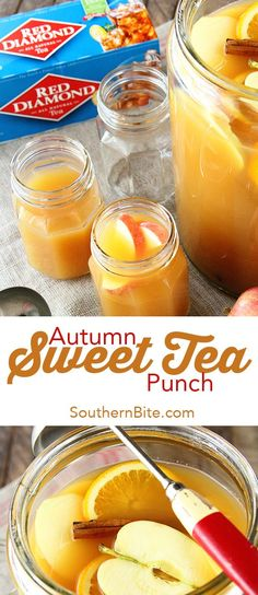 The delicious flavors of fall combine in this epic Autumn Sweet Tea Punch recipe! Sweet tea, apple cider, orange and pineapple juice, and cinnamon all make an appearance in this festive beverage.  #sponsored @reddiamondinc