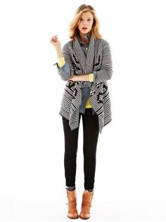 Gap - Patterned drape gray sweater with pop of yellow, skinny pants & biker boots