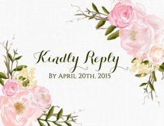 Spring Garden Floral Wedding Invitations Blush Printable OR