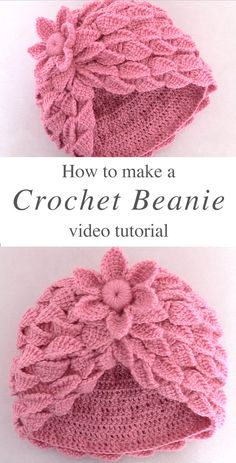 This video tutorial covers how to crochet beanie hat with Leaf stitch. Crochet this beanie with a braid of leaves and a woven flower is breathtaking. Turban Crochet, Bonnet Crochet, Crochet Beanie Hat, Beanie Hats, Beanies, Crochet Hat Tutorial, Easy Crochet Patterns, Crochet Stitches, Crochet Hooks