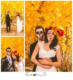 Dia de los Muertos photo shoot, stylized session, bride and groom portraits, day of the dead make up, floral wreath, wedding dress, tux, wedding photography by Lillabella Photography