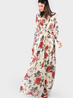 Online shopping for Floral Print Chiffon Maxi Dress CREAM from a great selection of women's fashion clothing & more at MakeMeChic.COM.