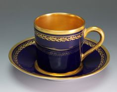 """Up for sale is a cobalt and gold Limoges demitasse cup and saucer. The Cup measures 2 1/4"""" tall and the saucer measures 4 3/4"""" wide. There may be light gold loss. Hand Wash fine porcelain/china and glass and do not place in the dishwasher or microwave. 
