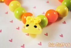 Kawaii Charm Bracelet  Cute Chunky Yellow Orange by CuteStuff4U, $10.00